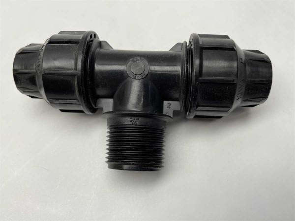 PE-T-Stück 16 mm auf 3/4 Zoll A.G.